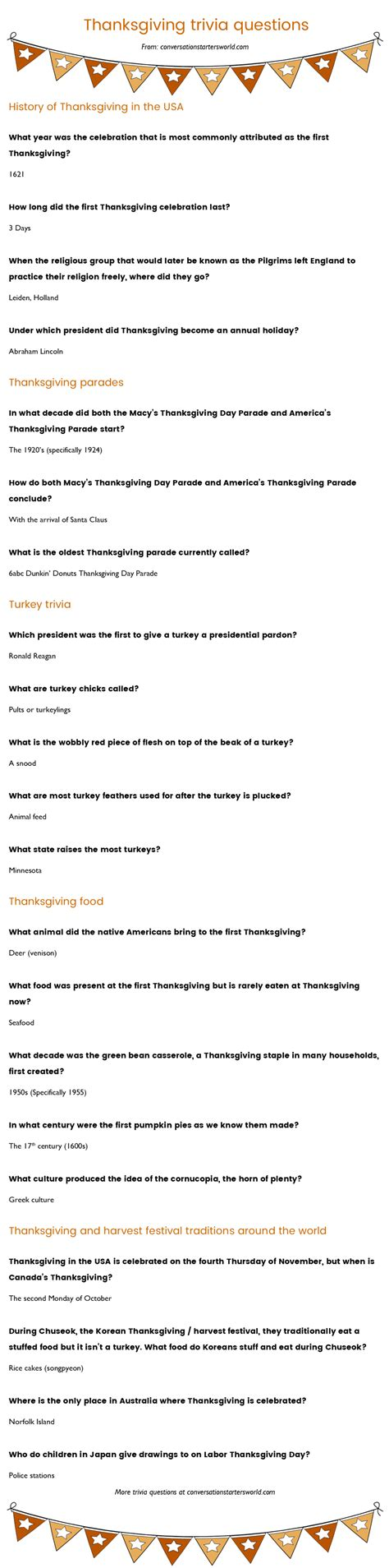 21 thanksgiving trivia questions most don t the answer to