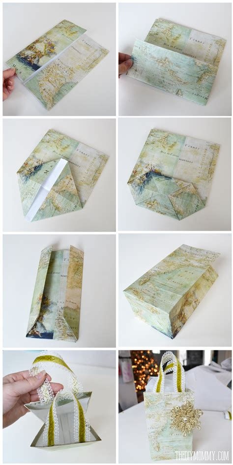 How To Fold Wrapping Paper Into A Bag - diy vintage map gift wrap and gift bags the