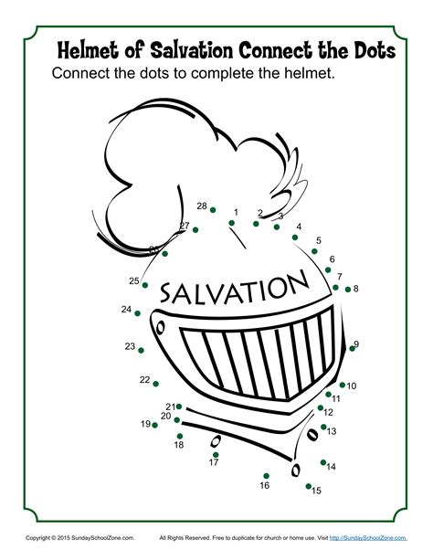 Helmet Of Salvation Coloring Page helmet of salvation connect the dots children s bible