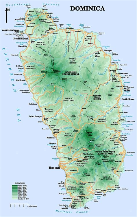 dominica on a map map of dominica