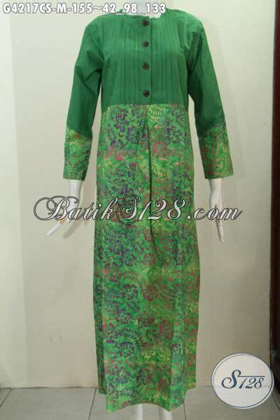 desain baju batik hijau gamis hijau desain terkini yang membuat wanita terlihat