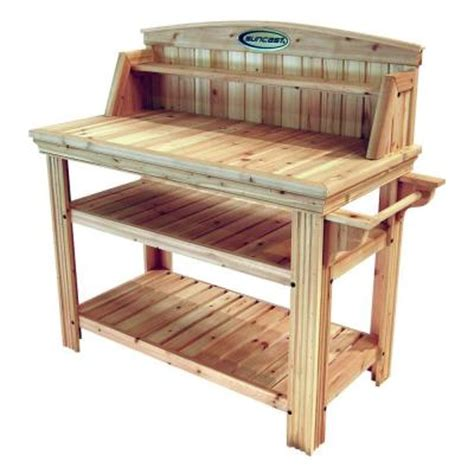 potting benches home depot suncast cedar potting table discontinued pt4500 the home