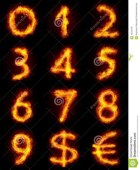 Fiery Numbers Stock Photos Images Fiery Numbers Set Royalty Free Stock Photos Image 18724478
