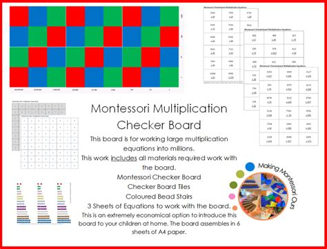 printable montessori multiplication board multiplication checker board materials printable quot making