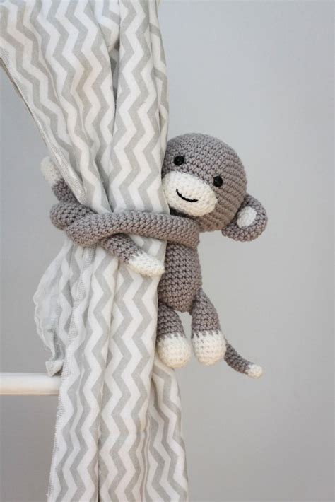 knitted curtain tie backs monkey curtain tie back crochet pattern by thoresby cottage