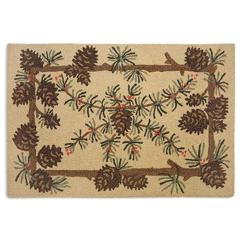 Pinecone Hooked Braided Accent Rug Cabin Place Pine Cone Area Rug