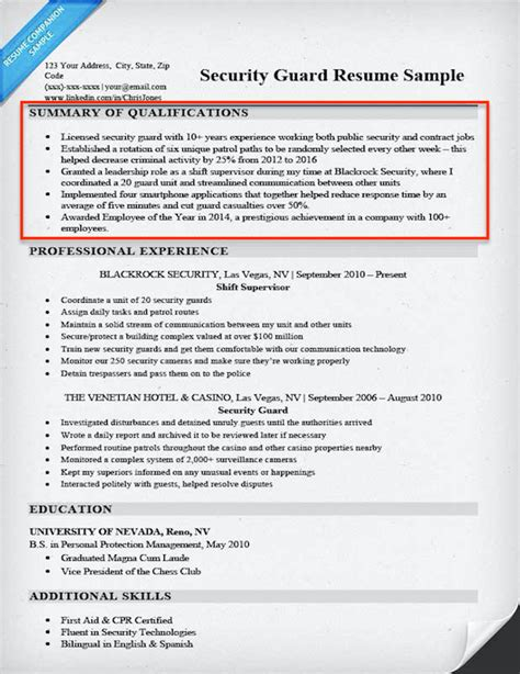 Resume Summary Of Qualifications by How To Write A Summary Of Qualifications Resume Companion