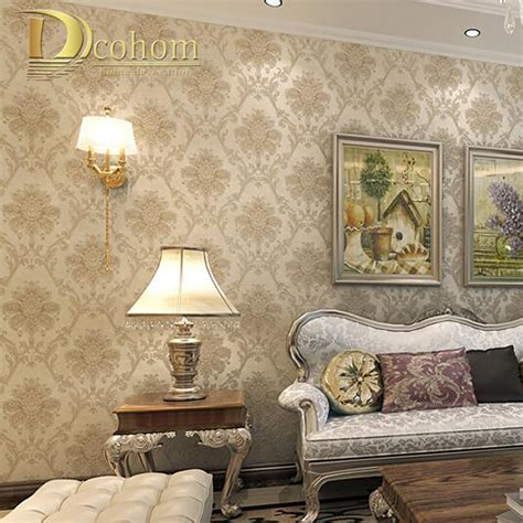 damask wallpaper bedroom bedroom ideas sofa vintage luxury european khaki brown beige damask wallpaper