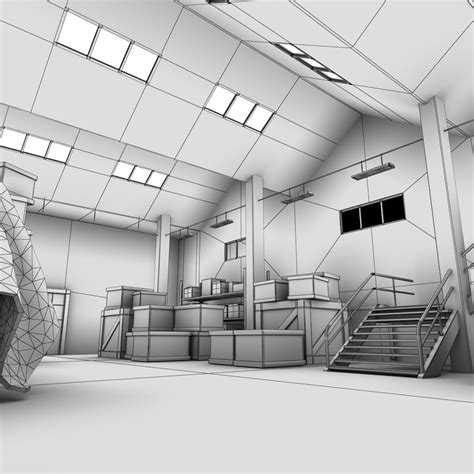 warehouse layout models warehouse interior 3d model max obj fbx lwo lw lws