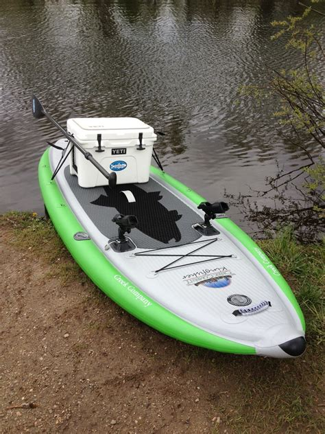 fishing out of inflatable boat the creek company stand up paddleboards kingfisher