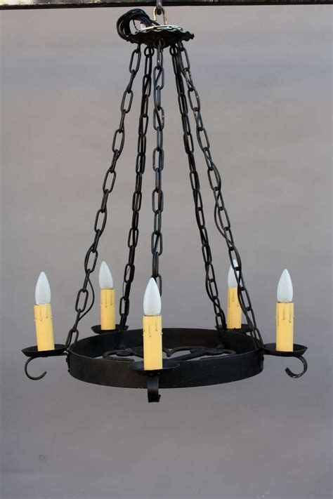 Simple But Chandeliers 1920s Simple Wrought Iron Chandelier At 1stdibs