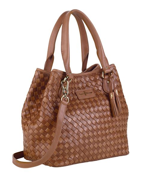 Pda Shoper Hanging Mix Brown cole haan nora woven serena tote bag brown in brown lyst