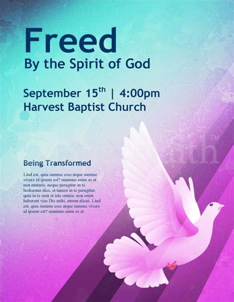 Dove Church Flyer Template Template Flyer Templates Religious Flyer Templates Free