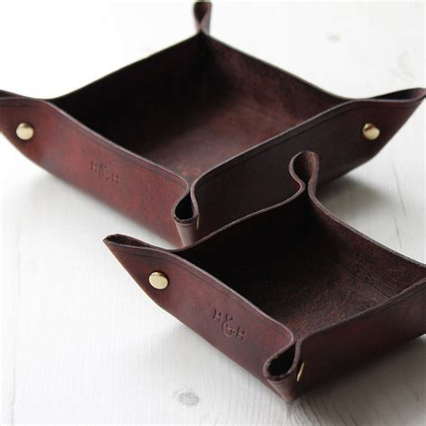 Leather Valet Tray And Desk Tidy Set By Hide Home