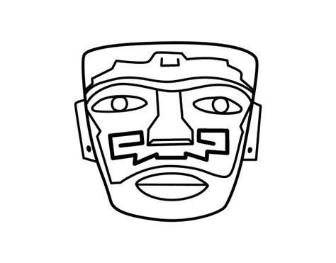 imagenes mayas para pintar dibujo de m 225 scara ancestral azteca para colorear dibujos net