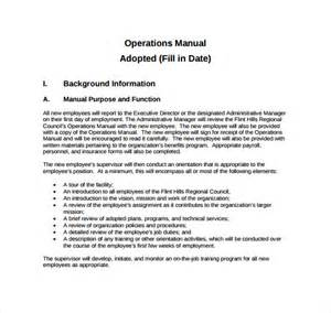 operations manual template 11 free samples examples