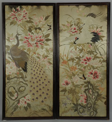 peacock silk embroidery shadowbox asian home decor lot 23 pair of large chinese silk embroidery panels