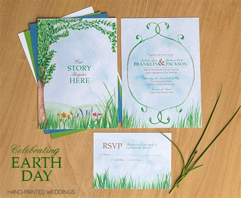 earth themed wedding invitations earth day wedding invitation painted weddings