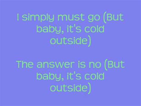 Baby Its Outside by Glee Baby It S Cold Outside Lyrics