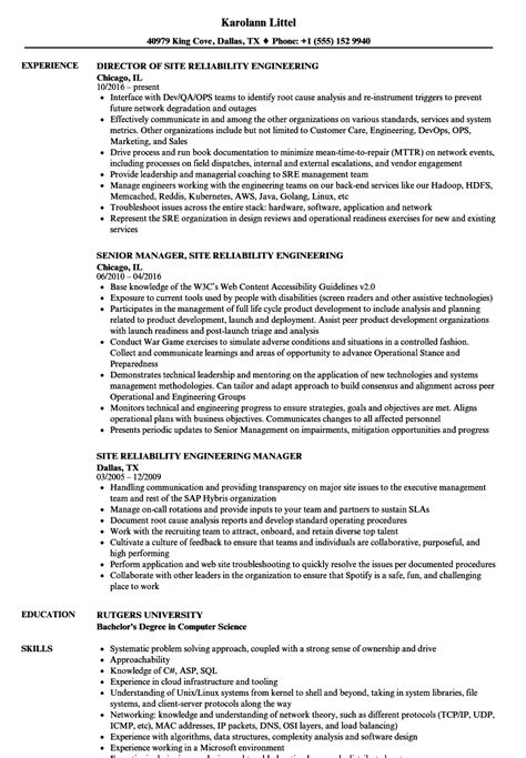 Site Reliability Engineer Cover Letter by Site Reliability Engineer Sle Resume Student Persuasive Essay Exles