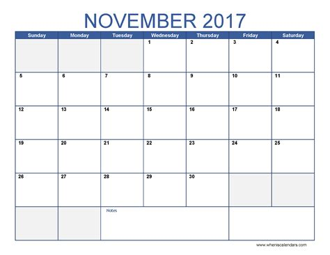 printable november planner blank november 2017 calendar weekly calendar template