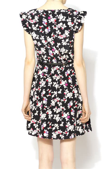 Printed Dress With Belt tulle printed dress with belt from carolina by