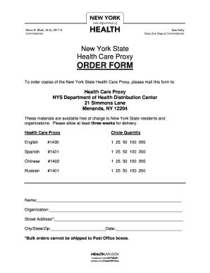 Bill Of Sale Form New York Health Care Proxy Form Templates Fillable Printable Sles For New York State Living Will Template