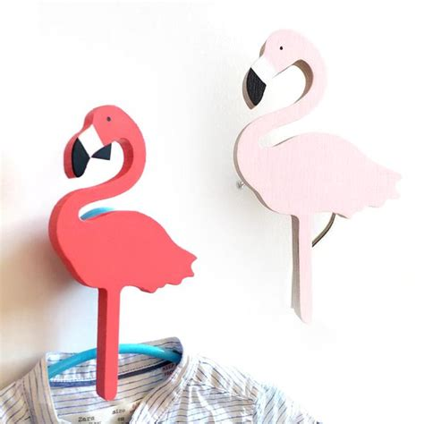 Flamingos Wooden Clothes Hook For Kids Room Wall Decorate Room Hooks