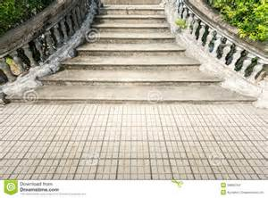 Banister For Staircase Old Grungy Stone Stairway Outdoor In Summer Stock Images
