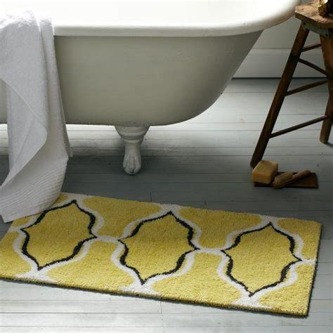 Yellow And Gray Bath Mat Yellow Trellis Geometric Ogee Chain Bath Mat
