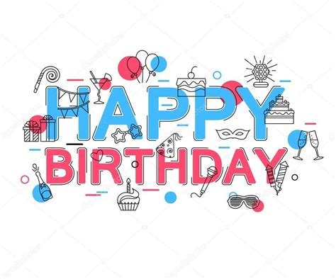 happy birthday design ai happy birthday concept with vector icons and elements