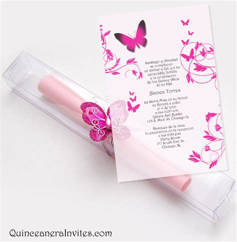 design a quinceanera invitation quinceanera scroll invitations kit butterflies box