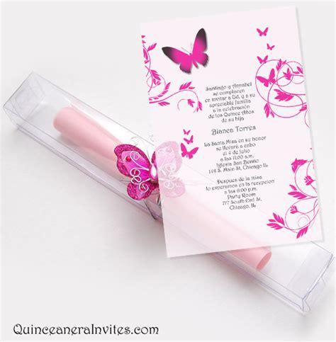 Quinceanera Scroll Invitations Kit   Butterflies & Box