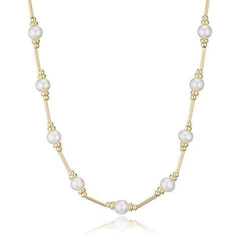 9ct gold freshwater pearl necklace 40cm 0000666