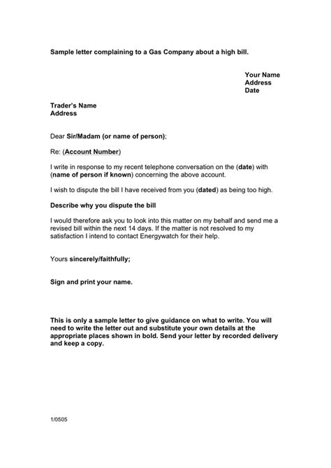 Complaint Letter Gas Sle Letter Complaining To Gas Company About A High Bill Uk In Word And Pdf Formats