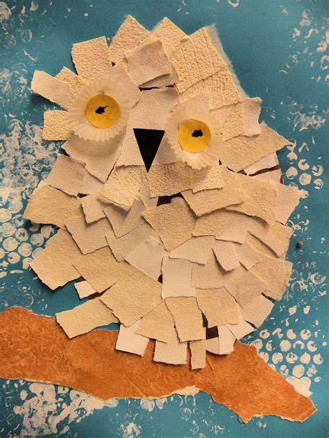 Canon Paper Craft Snowy Owl Paper - snowy owls torn paper collage january 2013 crafts