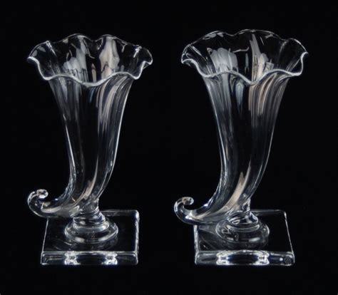 Blown Glass Vases Vintage by Pair Vintage Steuben Cornucopia Vases Blown