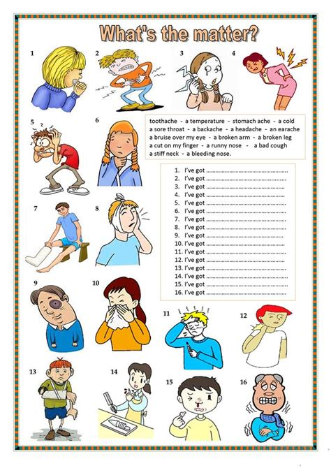 what s the matter what s the matter worksheet free esl printable