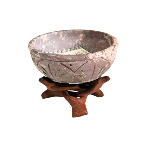 Soapstone Dishes - soapstone incense burning dish with cobra stand