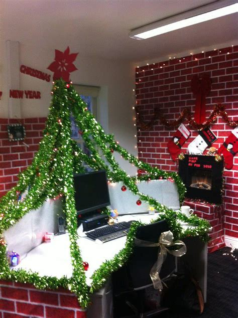 christmas work desk pod decorations under the christmas