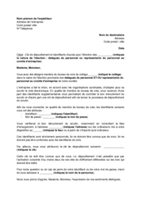 Demande De Dossier Médical Lettre Type Mod 232 Le De Lettre De Communication Des Identifiants Aux Membres Du Bureau De Vote Pour Les
