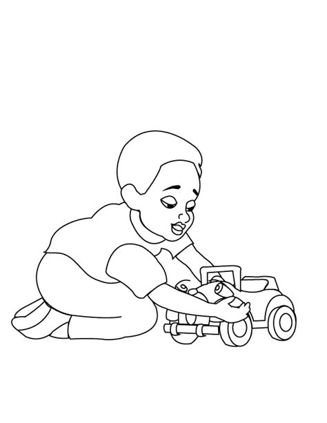 coloring pages child playing
