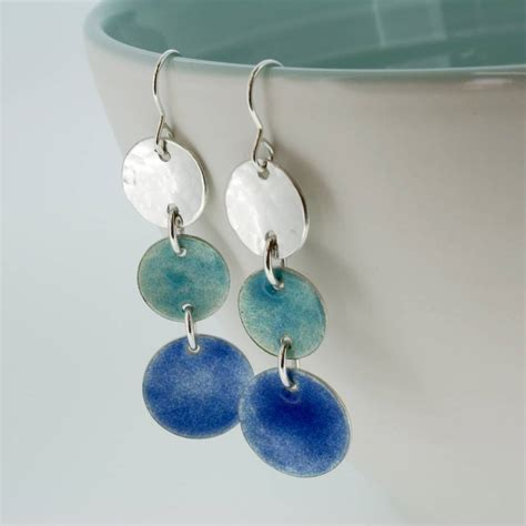 Handmade Silver Earrings Uk - handmade langorran enamelled silver earrings by carole