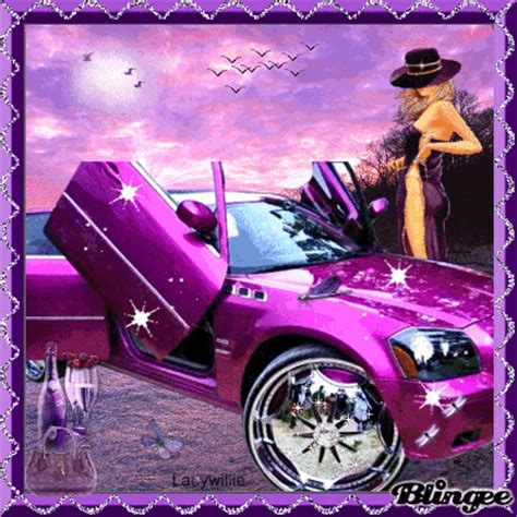 purple glitter car purple pimped car picture 128263030 blingee com