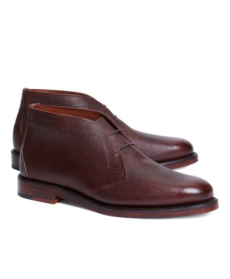brothers football leather chukka boots in brown for