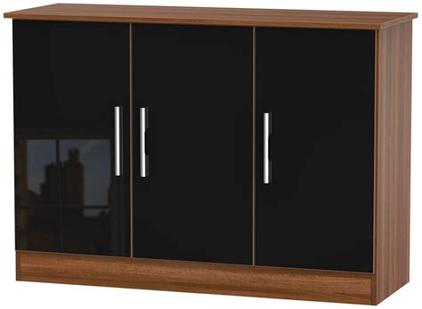 Walnut And Black Gloss Sideboard welcome living room furniture gloss black and noche walnut sideboard 3 door wowhome uk