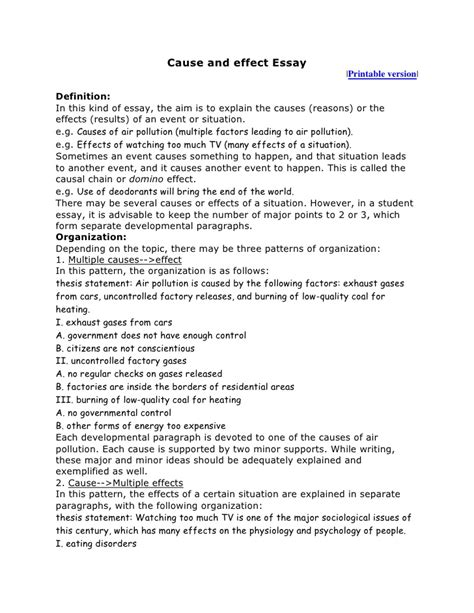 Sle Of Cause And Effect Essay cause and effect essay