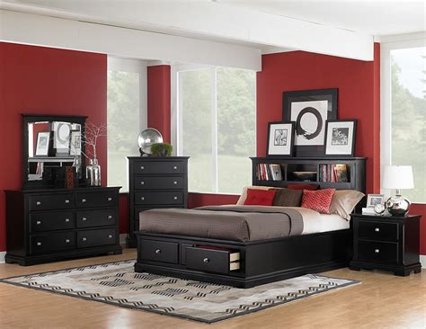 Homelegance Preston Platform Storage Bookcase Bedroom Set Bedroom Furniture In Black