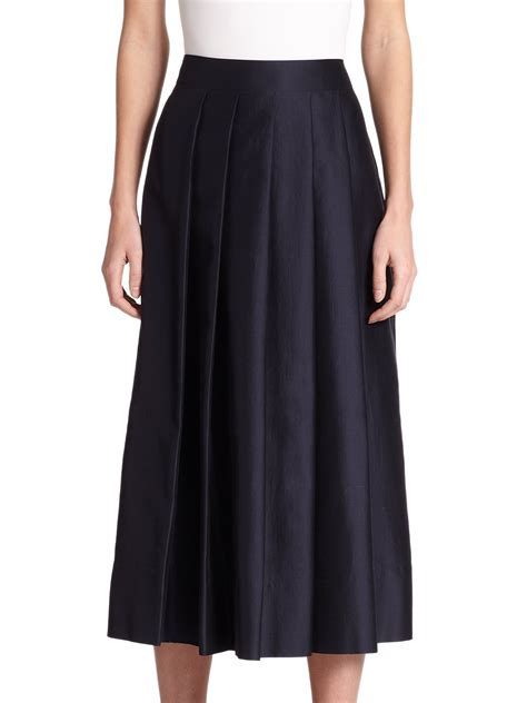 pauw pleated midi skirt in blue lyst