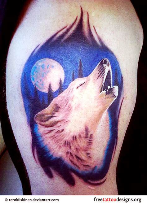 wolf face tattoo designs colorful howling wolf with moon design